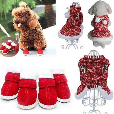 Christmas Clothes Pet Dog Dress Plush Warm Skirts Shoes Party Holiday Costume