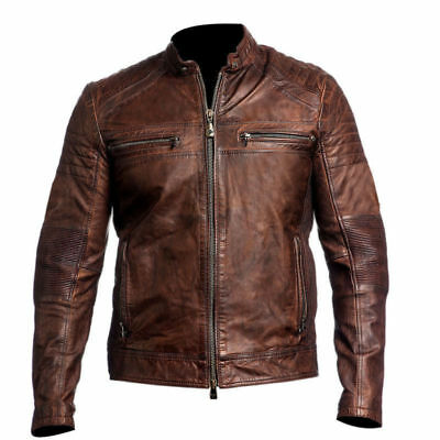 Cafe Racer 1 Motorcycle Vintage Biker Genuine Real Leather Jacket