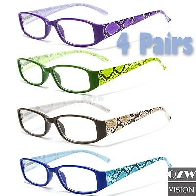 a7c73dfc5d94 4 Pairs Womens Spring Hinge Rectangular Power Lens Reader Reading Glasses  1.0-3