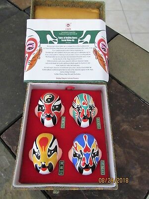 Chinese Beijing Clay Opera Facial Make-Up Masks in Gift Box * Faux Tang Dynasty