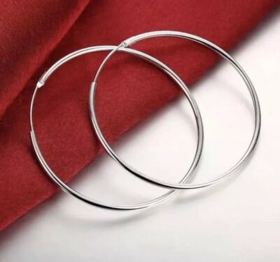 Womens 925 Sterling Silver Classic Large Round Vogue Hoop Fashion Earrings