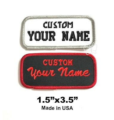 """Custom Embroidered Patch  Name Tag Biker Badge 1.5""""x3.5""""  WH/Grey or Black/Red"""