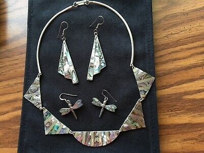 Beautiful, unique hand made abalone shell necklace and two sets of earrings