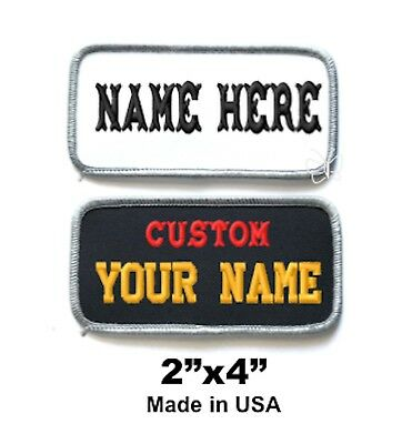 """Custom Embroidered Patch  Name Tag Biker Badge 2""""x4""""  White/Grey or Black/Grey"""