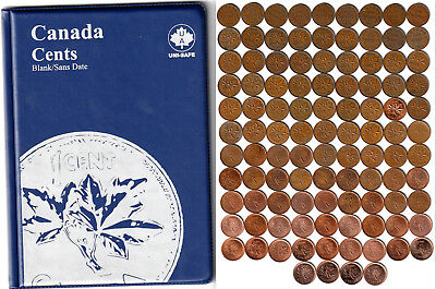 1920~2012 CANADA 103 x 1¢ Pennies - Missing only 1922~26 - In Unisafe Album