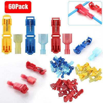 60PCS Insulated 22-10 AWG T-Taps Quick Splice Wire Terminal Connectors Combo Kit