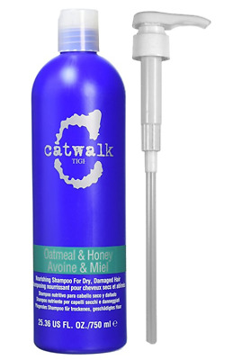 TIGI Catwalk Oatmeal & Honey Nourishing Shampoo 750ml + Pump Dispenser NEW