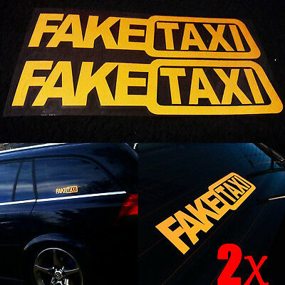 Funny 2pcs FAKE TAXI Car Auto Sticker FakeTaxi Decal Emblem Self Adhesive Vinyl