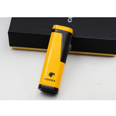 Cohiba Yellow Cigar Cigarette Metal Lighter 3 Torch Jet Flame With Punch