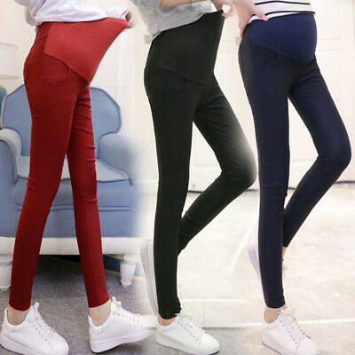 Women's Pregnant Maternity Pencil Stretch Pants Casual High Waist Trousers Plus