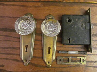 Original Antique Door Lock Set Backplates Strike Plate Glass Knobs Brass Finish