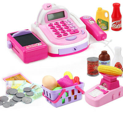 Kids Electronic Till Cash Register Toy Pretend Supermarket Play Learning Game Q