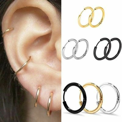3 Pairs Men Women Punk Stainless Steel Ear Hoop Circle Earrings Jewelry Gift