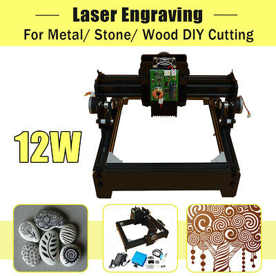 12W Laser Engraver Engraving Machine CNC USB Metal Iron Stone Printer Cutter Set