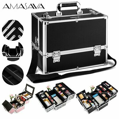 Extra Large Space Black Rose Beauty Bag Make up Cosmetic Box Vanity Case