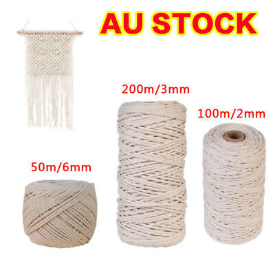 AU 200m Natural Cotton Cord Twine Braided Rope Cord Sash String Craft Macrame