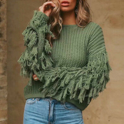 Thick Long Sleeve Tassel Kintted Sweater Women Pullover Female Winter Casual
