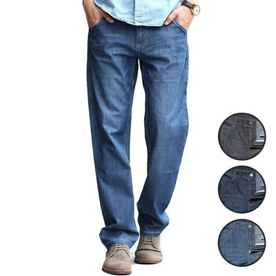Men's Straight Leg Jeans Mid Rise Loose Fit Zipper Fly with Button Full Length