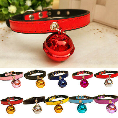 Cn _ Réglable Chiot Chien Chat Chaton Simili Cuir Bell Collier Col