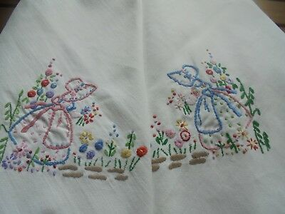 Hand embroidered heavy cotton tablecloth Mary Mary Quite Contrary in crinoline