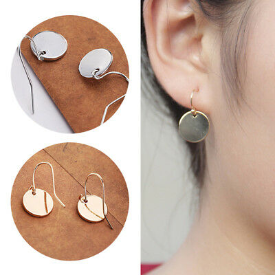 Earrings Small Round Disk Geometry Mini Metal Simple