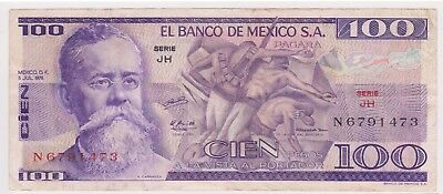 (N17-24) 1981 Mexico 100 Peso bank note (X)