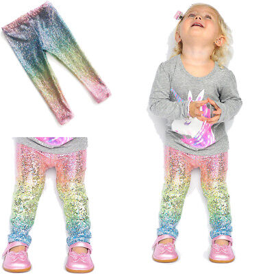 Baby Girls Rainbow Shiny Sequins Leggings Trousers Skinny Princess Pants Bottom