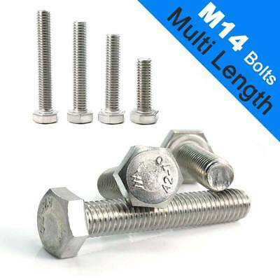 Metric M14 Hexagon Head Bolts Hex Screw 25-200mm FULLY THREAD A2 STAINLESS STEEL