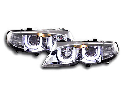BMW 3 E46 Estate/Sedan/Touring (02-05) Chrome 3D Angel Eyes Headlights Pair RHD