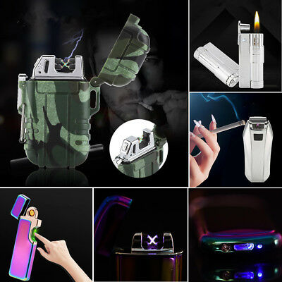 Electric Double Arch PULSE Plasma Lighter Flameless Metal Cigarette USB Gift HG