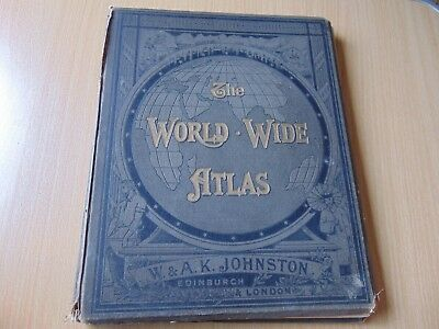 1894 World Wide Atlas Book Johnston With 112 Antique Plate Map Scott Keltie