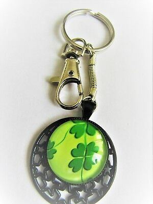 0788 - Key Ring - Four Leaf Clover - Good Luck, Wealth. Hand Made