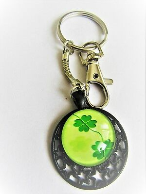 0805 - Key Ring - Four Leaf Clover - Good Luck, Wealth. Hand Made