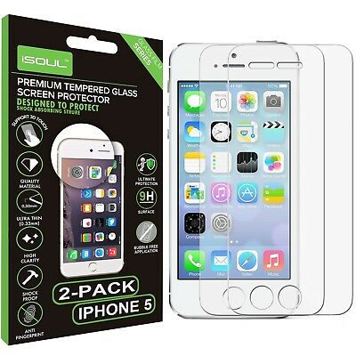 6db78697557 2-Pack , iSOUL Premium Tempered Glass Screen Protector Film for Apple iPhone  5 5