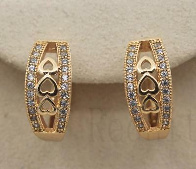 18K Gold Filled - Heart Hollow Geometry Clear Zircon Pageant Lady Hoop Earrings