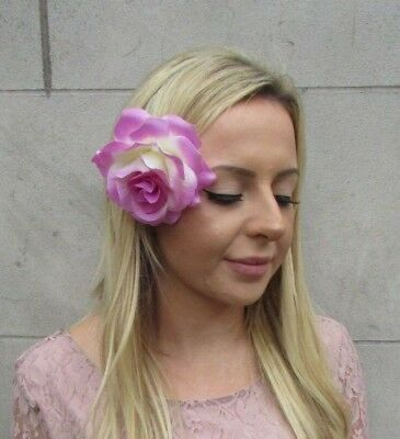Large Orchid Lilac Pink Rose Flower Hair Clip Fascinator Wedding Races 50s 6168