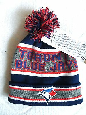 BLUE JAYS Toronto Navy Grey POMPOM BEANIE TUQUE Hat OSFA Baseball MLB bobble