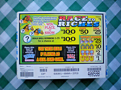 """[1] 440ct $1.""""RACE to RICHES"""" SEAL$275.T~Bingo Tip Pull Tab Jar Ticket~PRFT $110"""