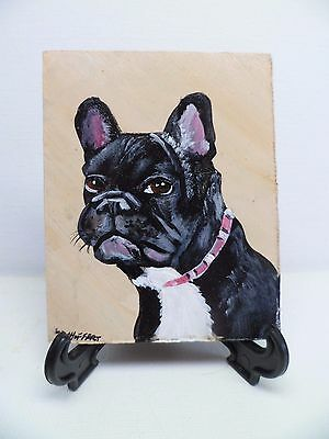 French Bulldog- Hand Painted On Tile With Easel By Artist W. W. Hoffert