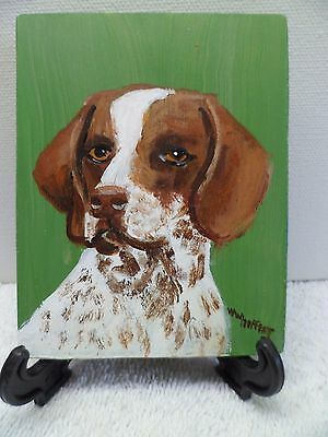 Short Haired Pointer- Hand Painted On Tile With Easel By Artist W. W. Hoffert