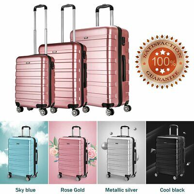 """20 24 28"""" 4 Wheels Hardshell Spinner PC Suitcase Luggage Trolley Case Cabin Bag"""