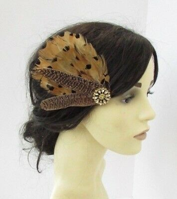 Mustard Brown Yellow Gold Pheasant Feather Fascinator Hair Clip Races Vtg 6173