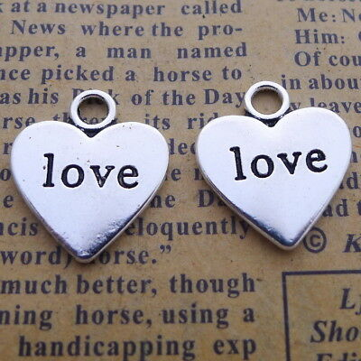 10pcs Charms LOVE Words Heart Shape Tibetan Silver Beads Pendant DIY 18*16mm