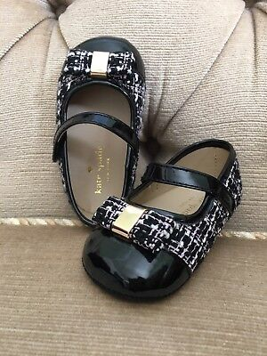 a061da05db1d KATE SPADE CAP Toe Black Tweed Mary Jane Baby Shoes  size 4 ( 9 -12 ...