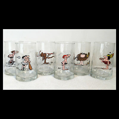 Set of 6 ARBY'S 1981 B.C. ICE AGE Collector Series DRINKING GLASSES Johnny Hart