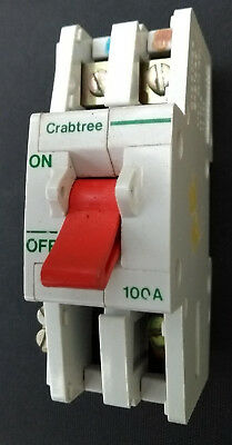 Crabtree SB6000 100 Amp 2 pole D.P Main Switch Disconnector BS5419 AC22