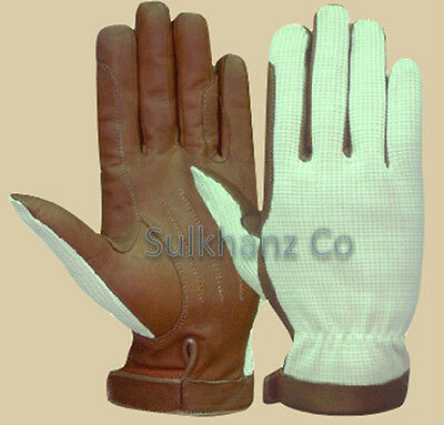 Equestrian Horse Riding Gloves Leather Brown & Black Premium Quality *Clearance*
