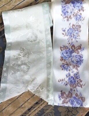 Wide Antique Silk Ribbon Celadon Green Flower Clover &Taffeta Watered Blue Roses