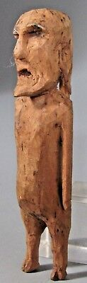RARE Polynesian or Pre Historic American Wood Figural Carving of a Standing Man