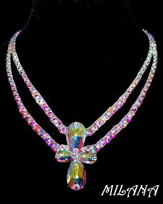 Women Ballroom Dance Jewelry Accessories Necklace Crystal AB